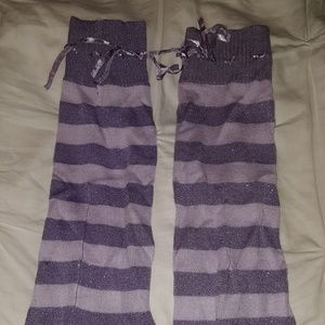 Accessories - Sparkle purple knitted tie top leg warmers